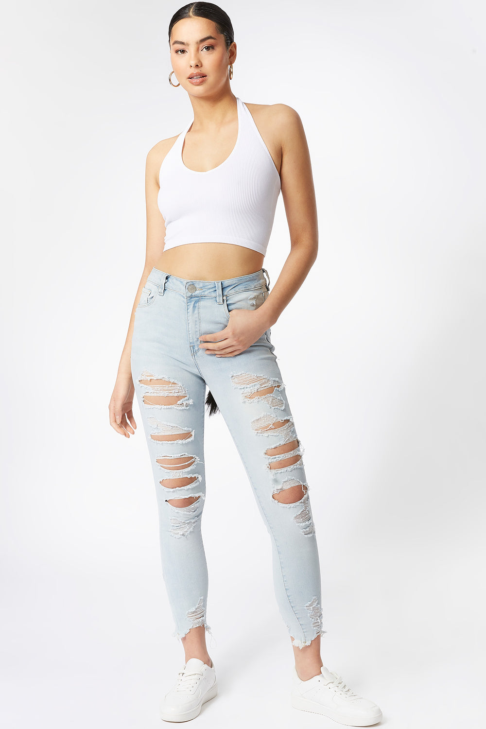 Refuge Miami High-Rise Distressed Blue Acid Wash Skinny Jean Sky Blue