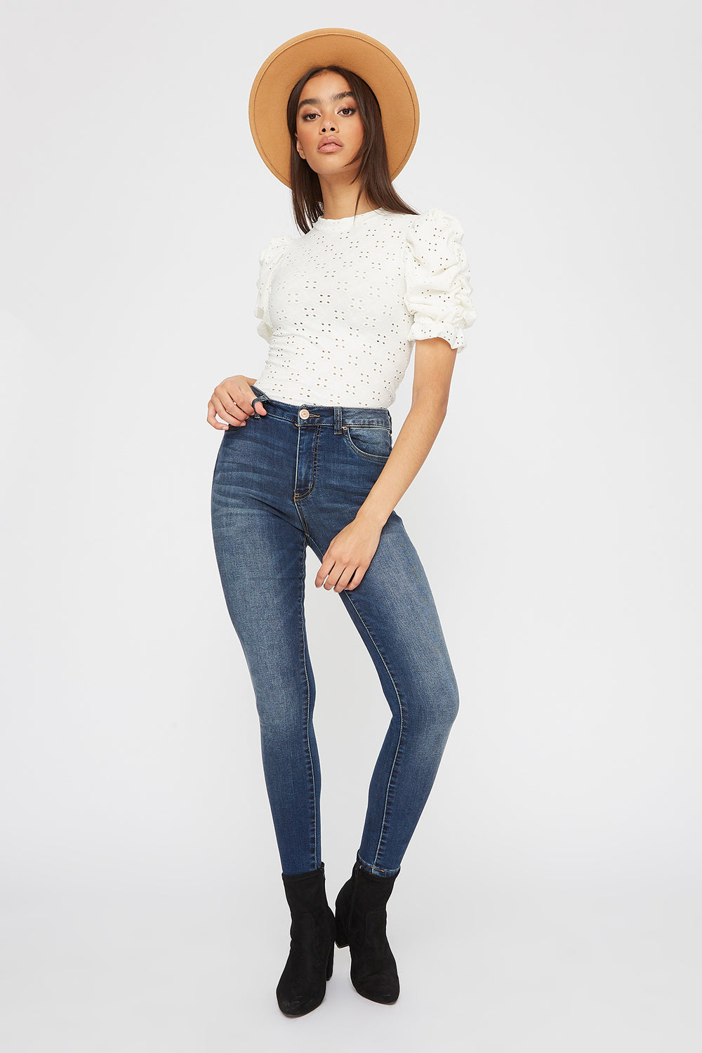 High-Rise Dark Wash Super Skinny Jean Denim Blue