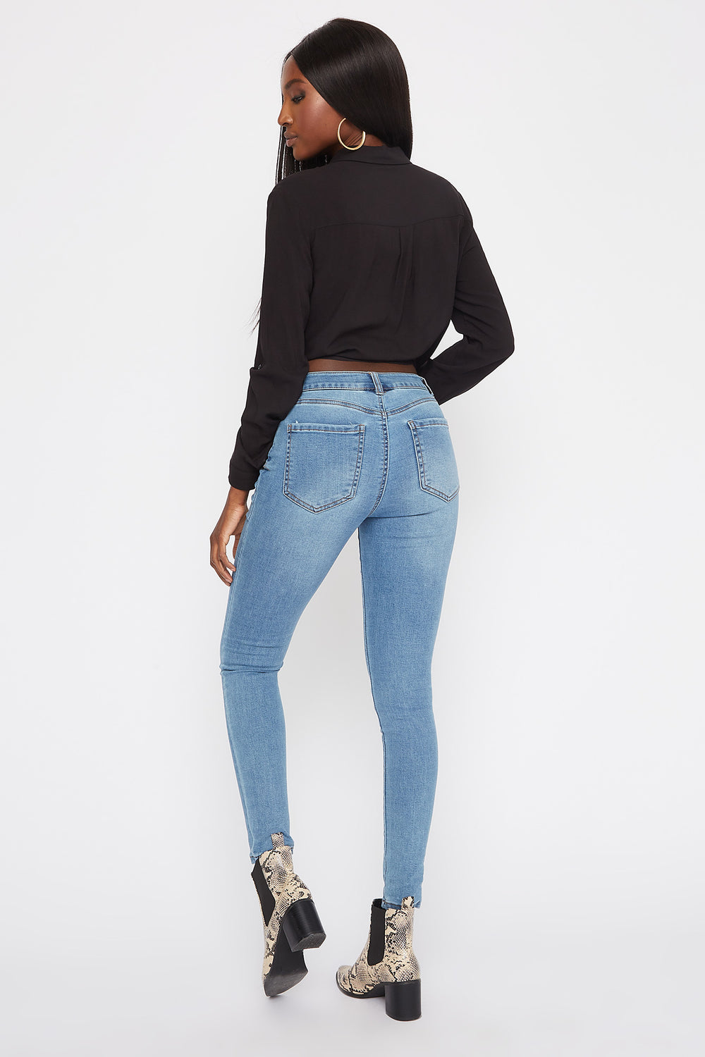 High-Rise Medium Wash Super Skinny Jean Medium Blue