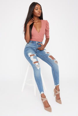 High-Rise Medium Wash Distressed Super Skinny Jean