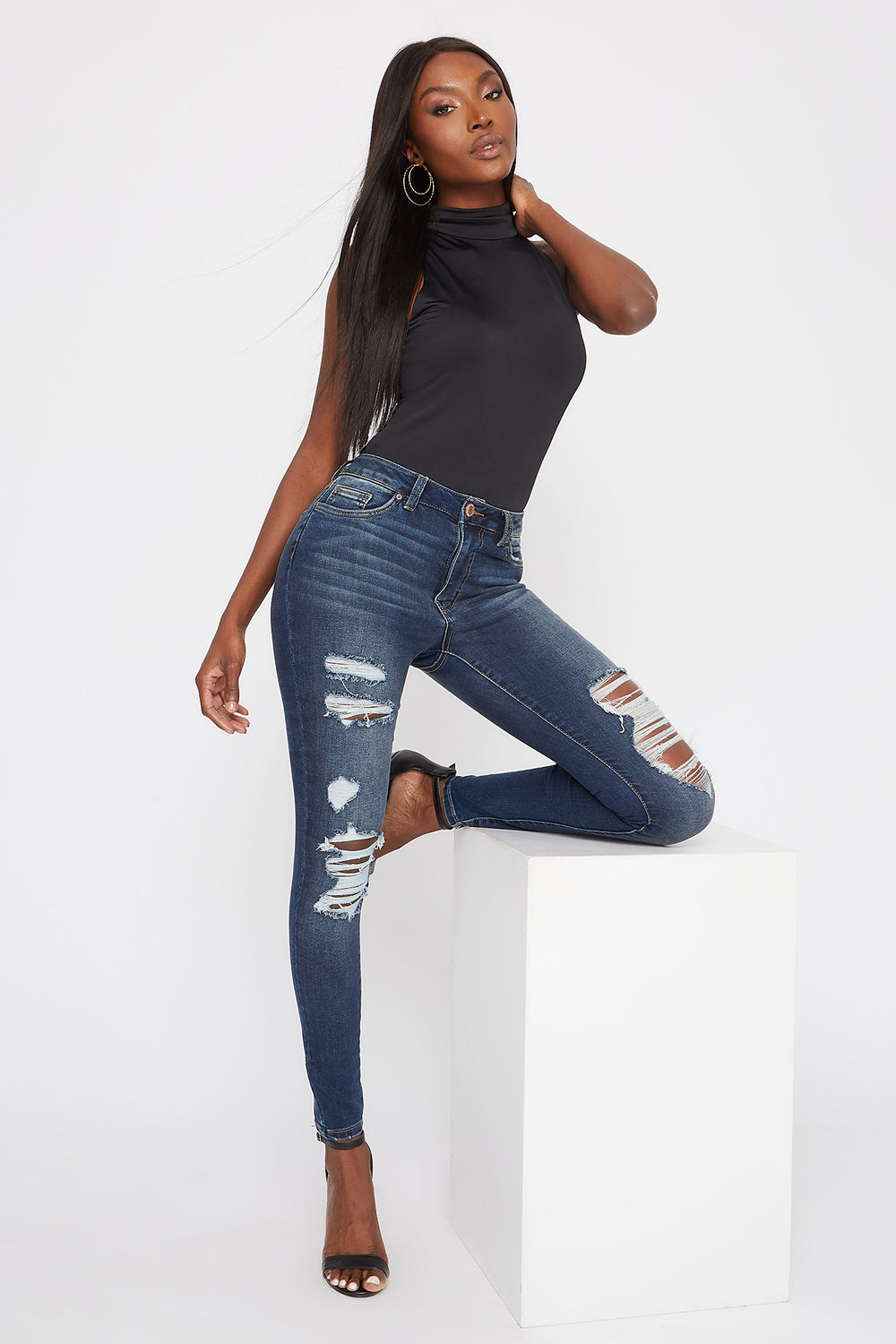 High-Rise Distressed Dark Wash Super Skinny Jean Denim Blue