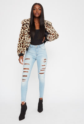 High-Rise Light Wash Cut Out Super Skinny Jean