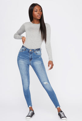 High-Rise Distressed Medium Wash Super Skinny Jean