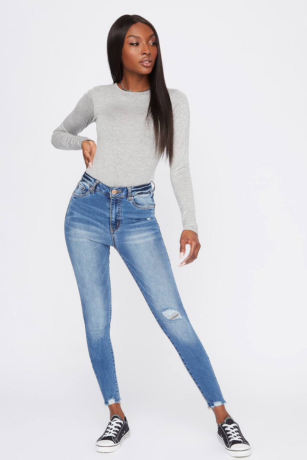 High-Rise Distressed Medium Wash Super Skinny Jean Denim Blue