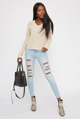 3-Tier High Rise Distressed Push Up Light Wash Skinny Jean