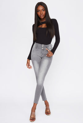 3-Tier High-Rise Push-Up Skinny Jean
