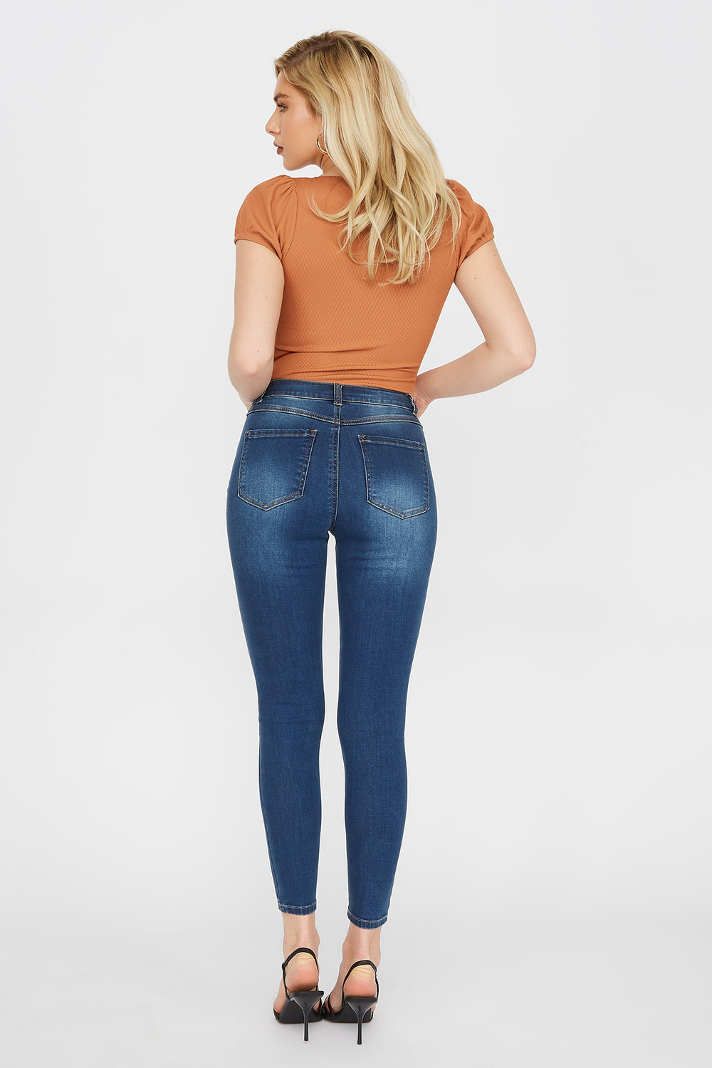 High-Rise Distressed Jegging Denim Blue