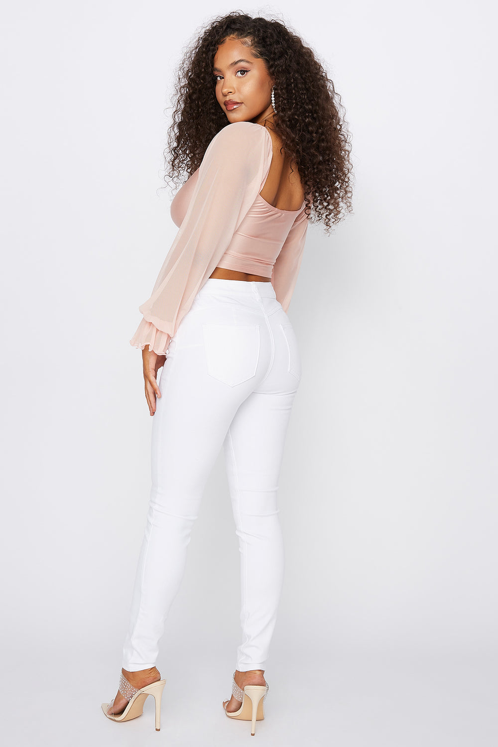 Refuge Rio White Mid-Rise Super Skinny Push Up Jean White