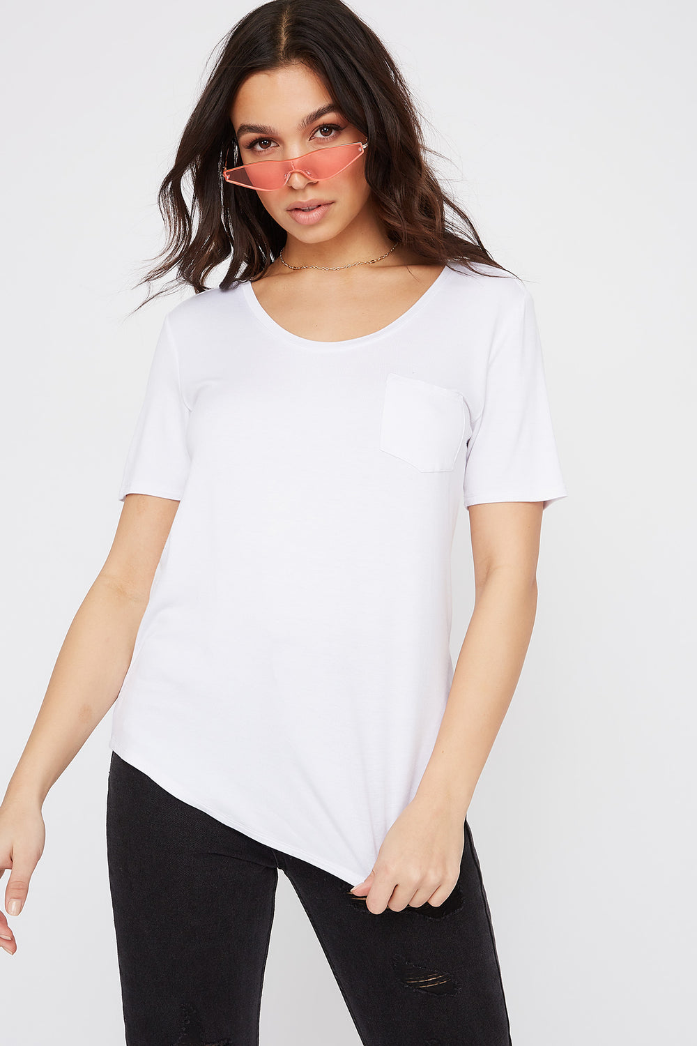 Relaxed Curved Hem T-Shirt White