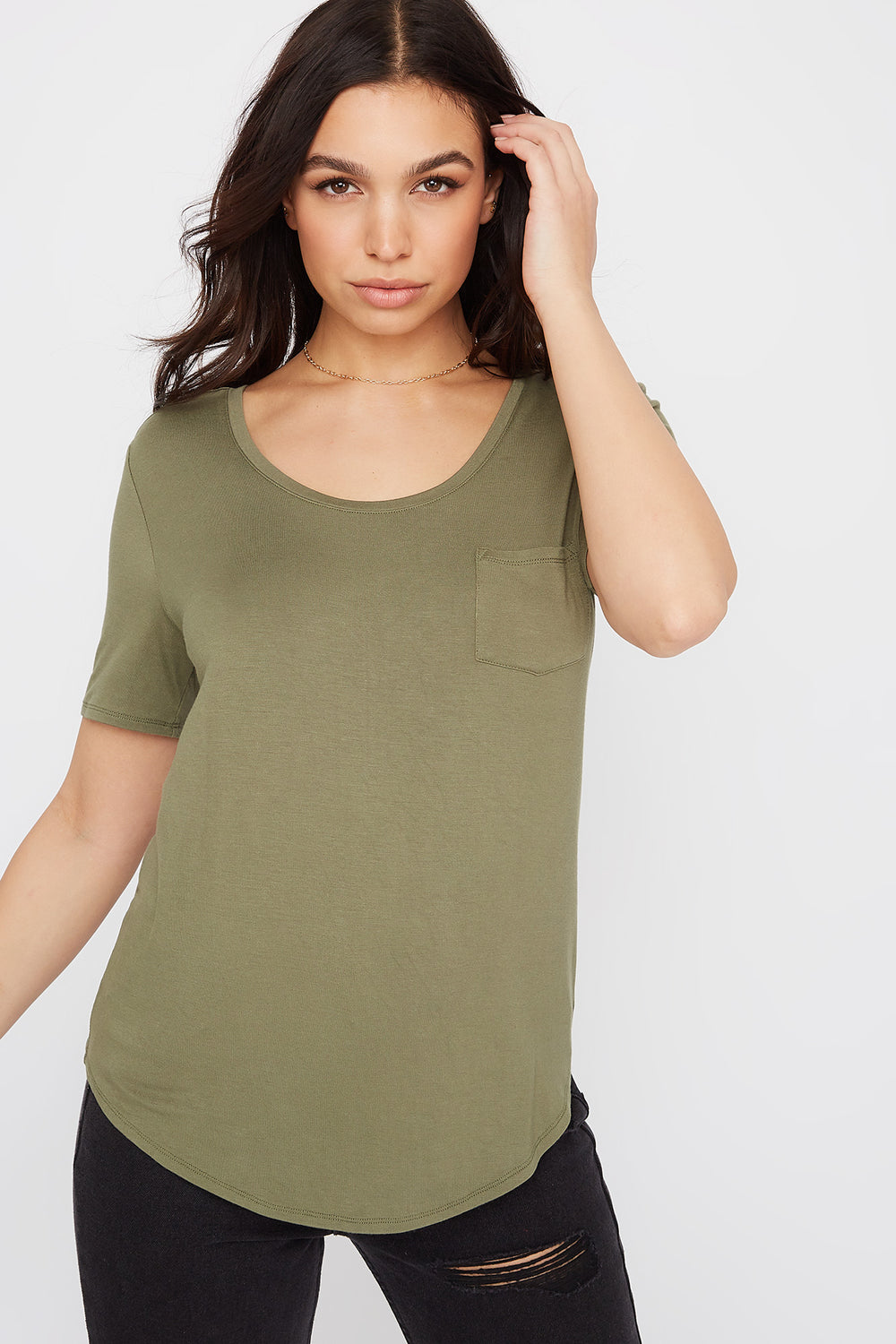 Relaxed Curved Hem T-Shirt Dark Green