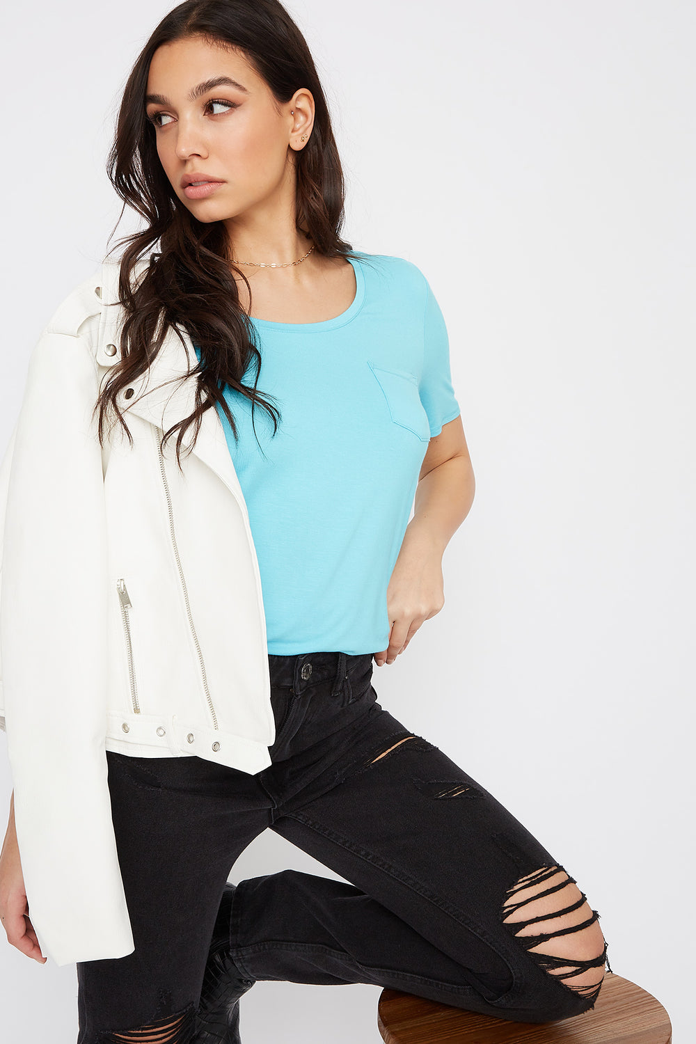 Relaxed Curved Hem T-Shirt Aqua