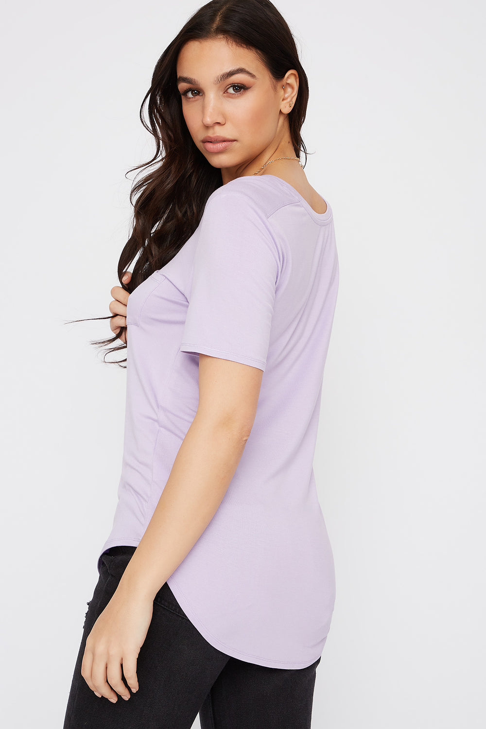 Relaxed Curved Hem T-Shirt Lilac