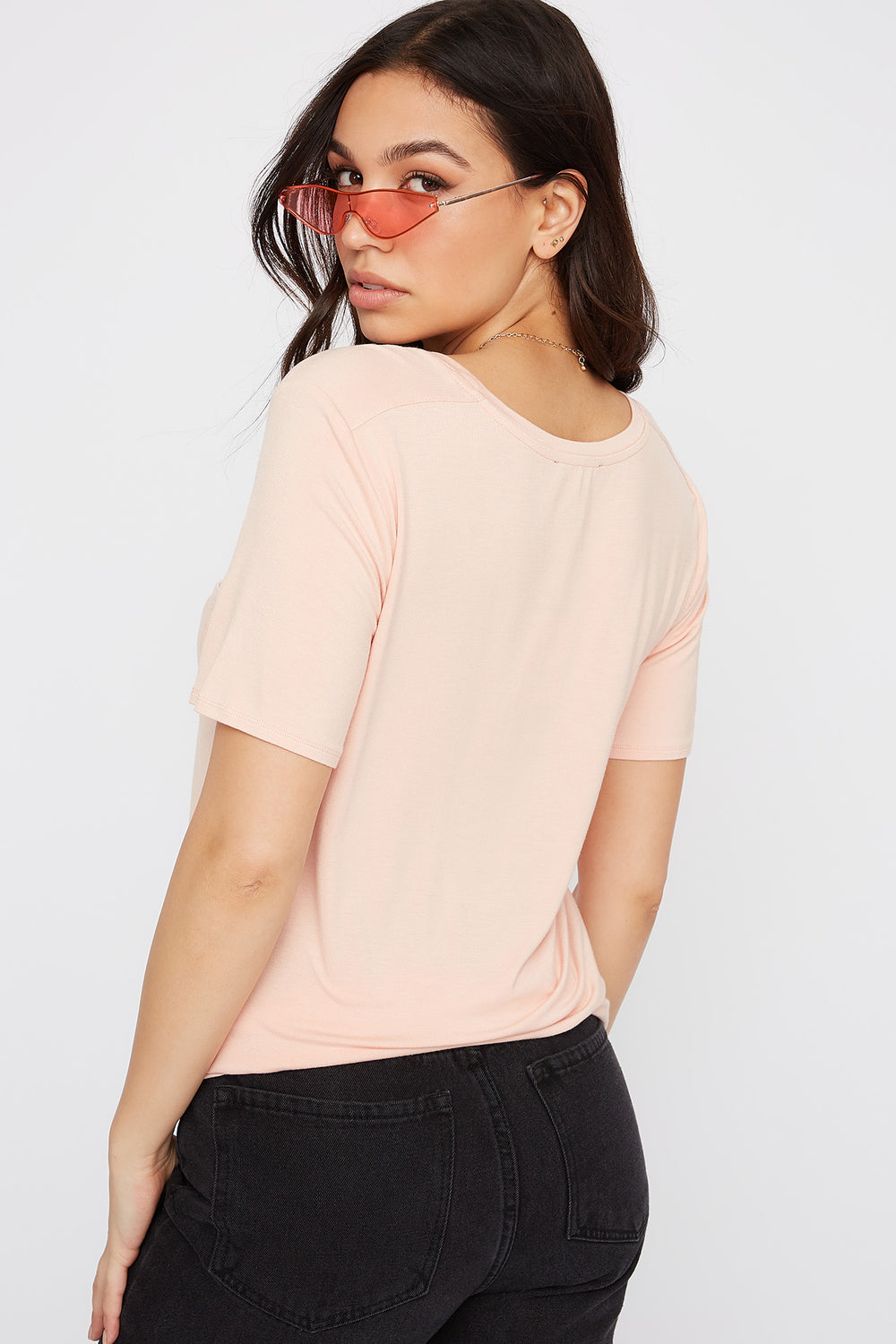 Relaxed Curved Hem T-Shirt Peach