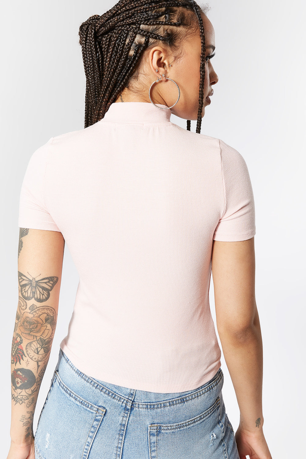 Ribbed Mock Neck Skimmer Top Light Pink
