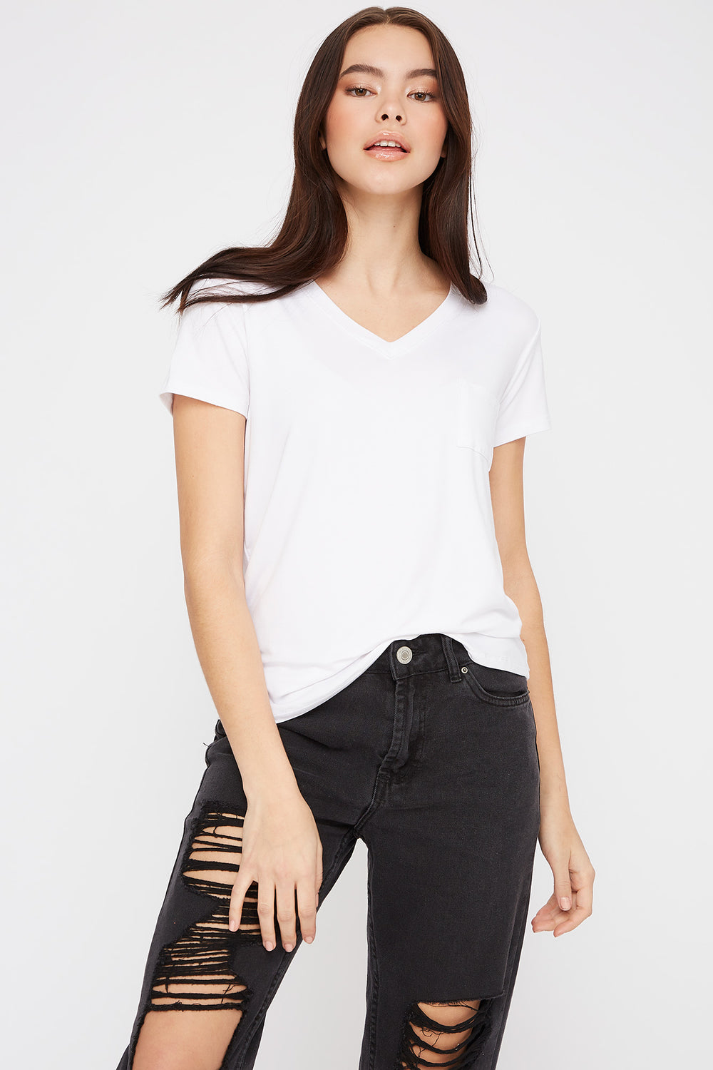 V-Neck Relaxed Pocket T-Shirt White