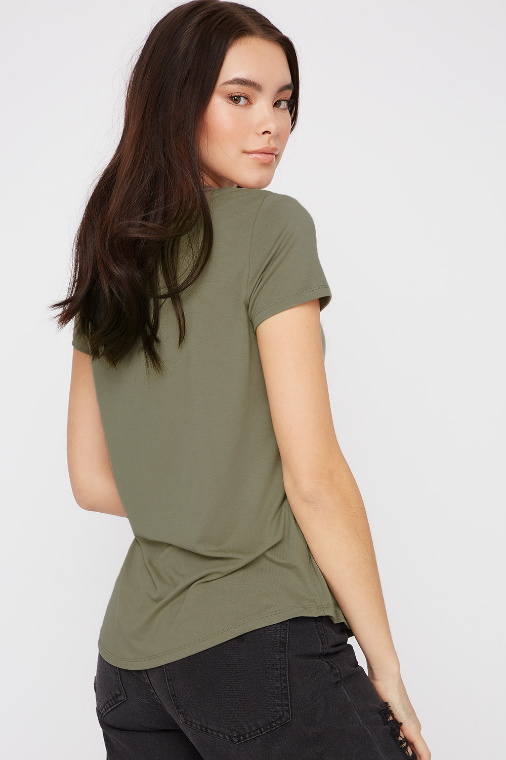 V-Neck Relaxed Pocket T-Shirt Dark Green