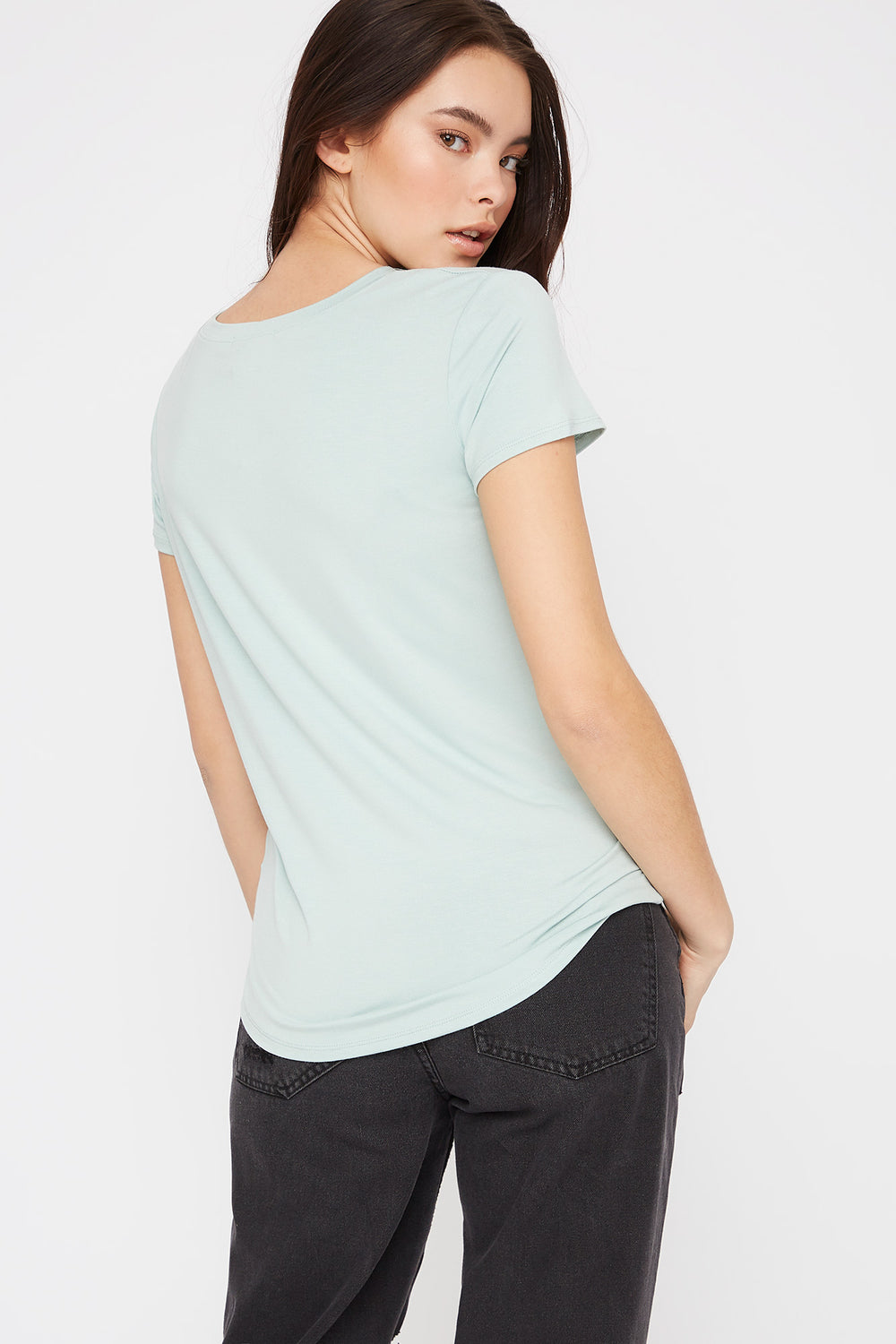 V-Neck Relaxed Pocket T-Shirt Light Blue