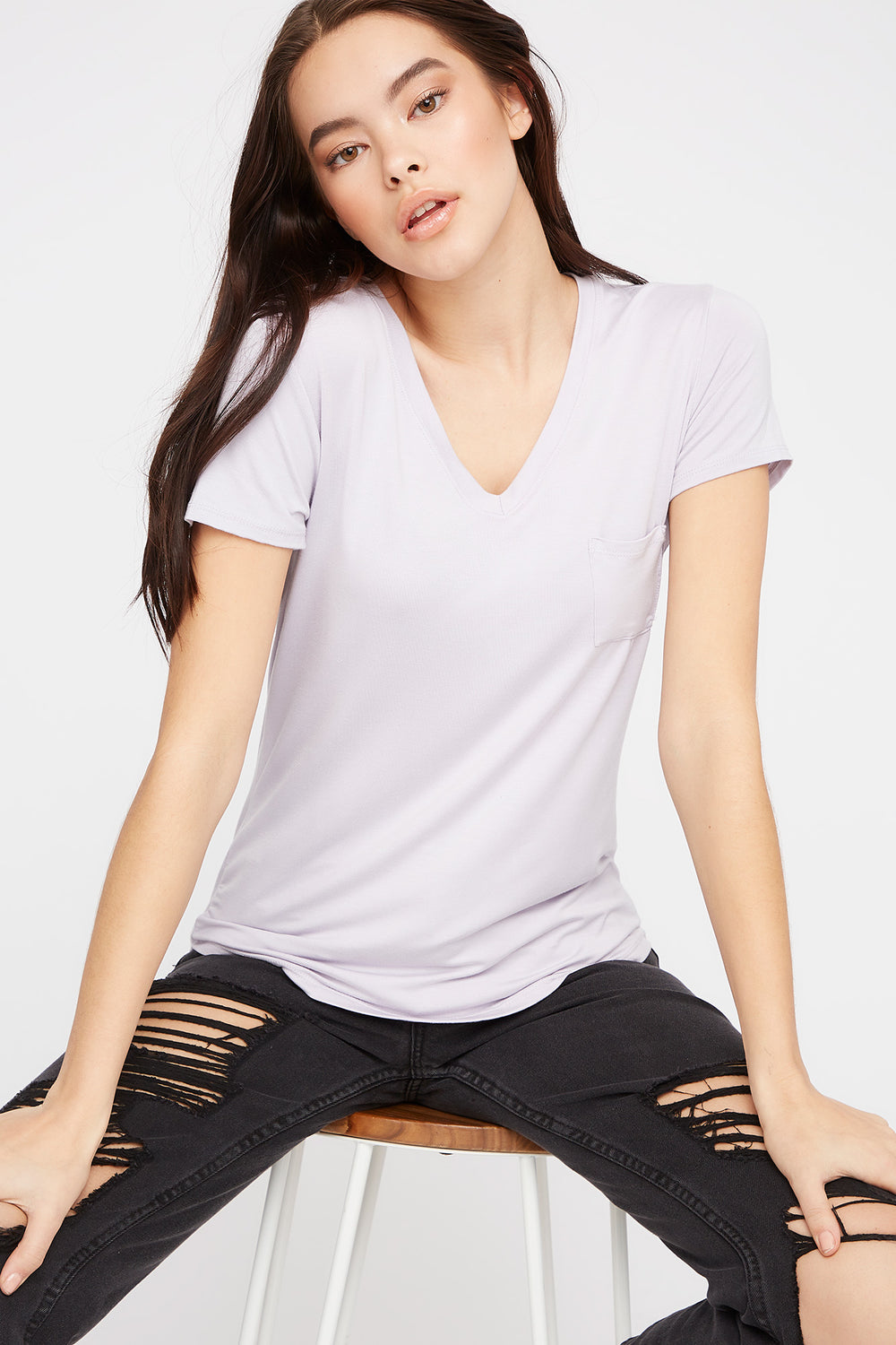 V-Neck Relaxed Pocket T-Shirt Lilac