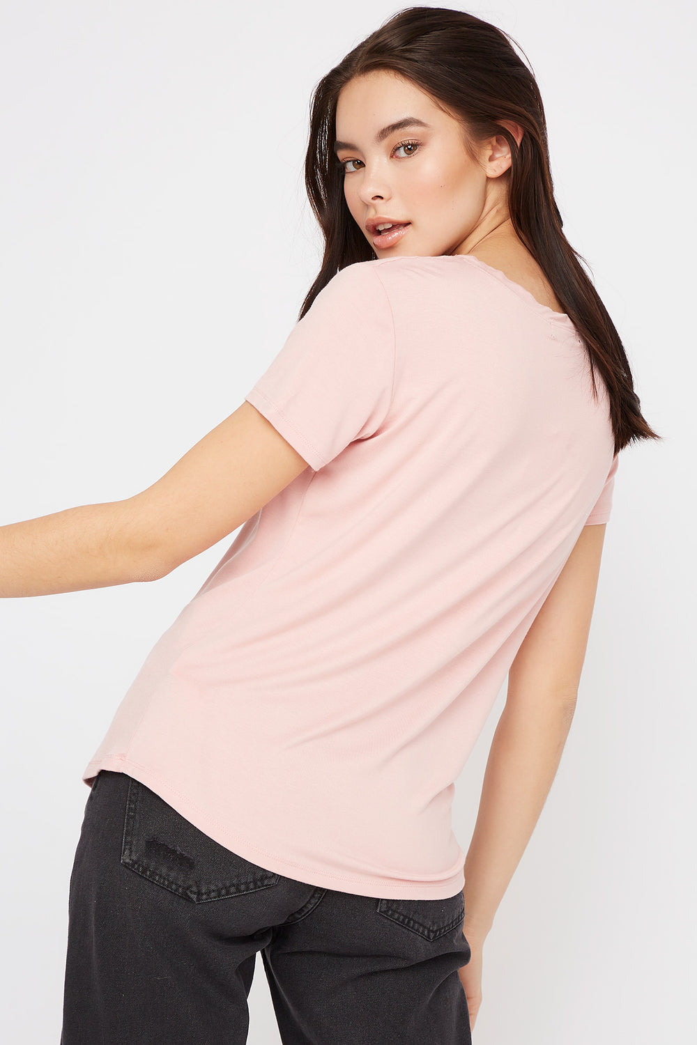 V-Neck Relaxed Pocket T-Shirt Rose