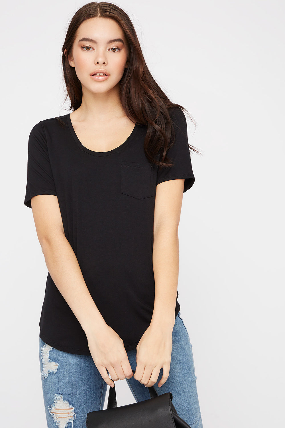 Scoop Neck Relaxed T-Shirt Black
