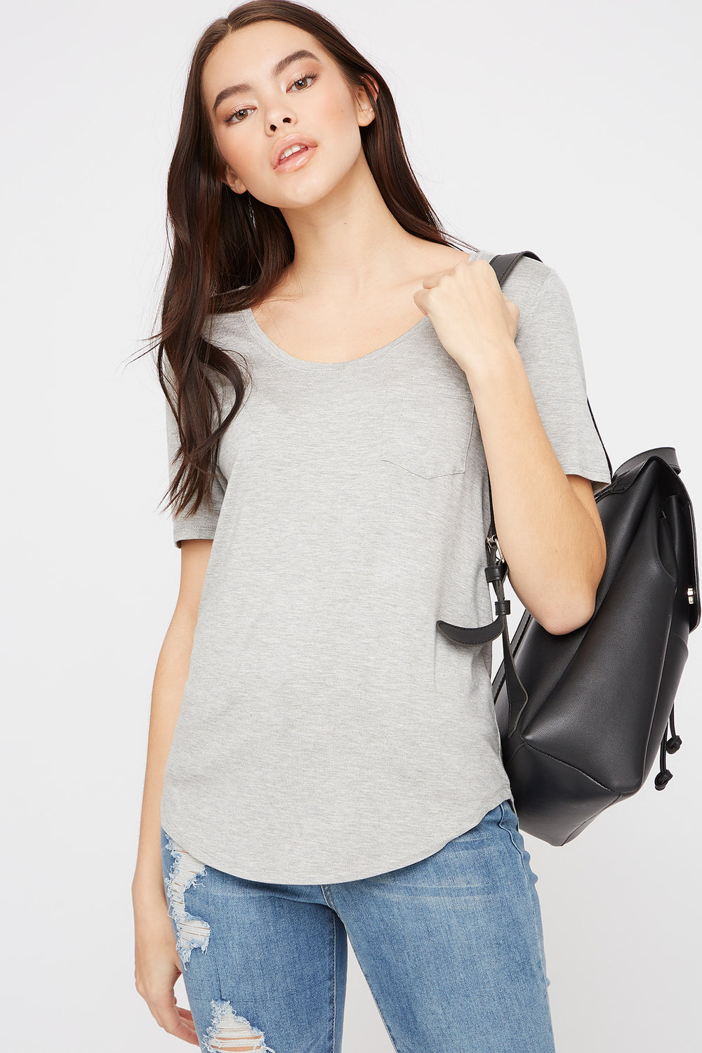 Scoop Neck Relaxed T-Shirt Heather Grey
