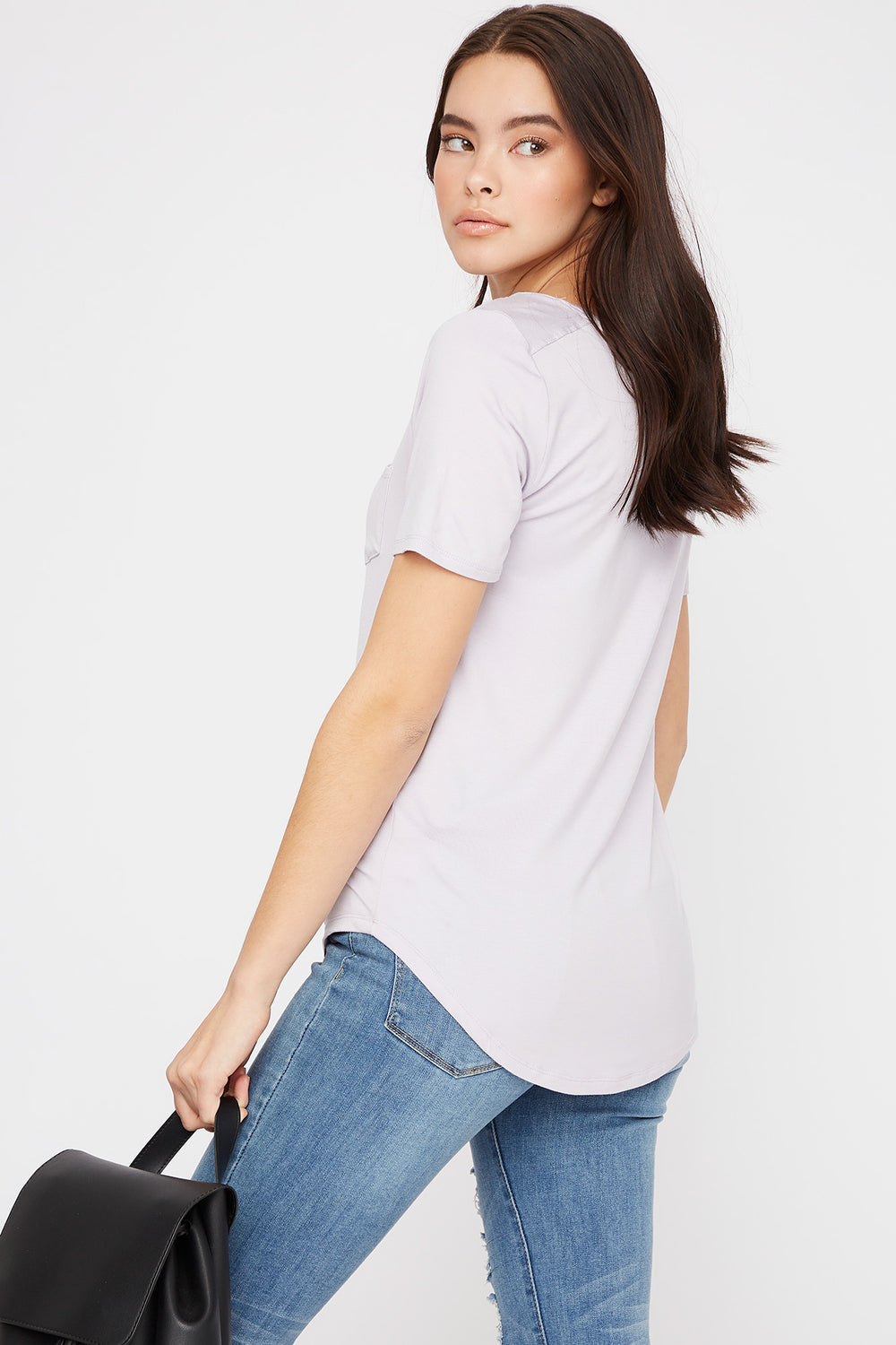 Scoop Neck Relaxed T-Shirt Lilac