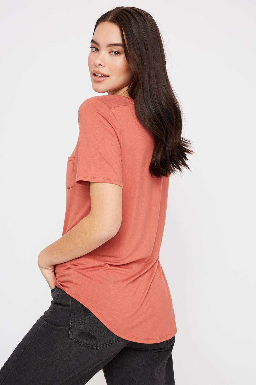 Scoop Neck Relaxed T-Shirt Rust