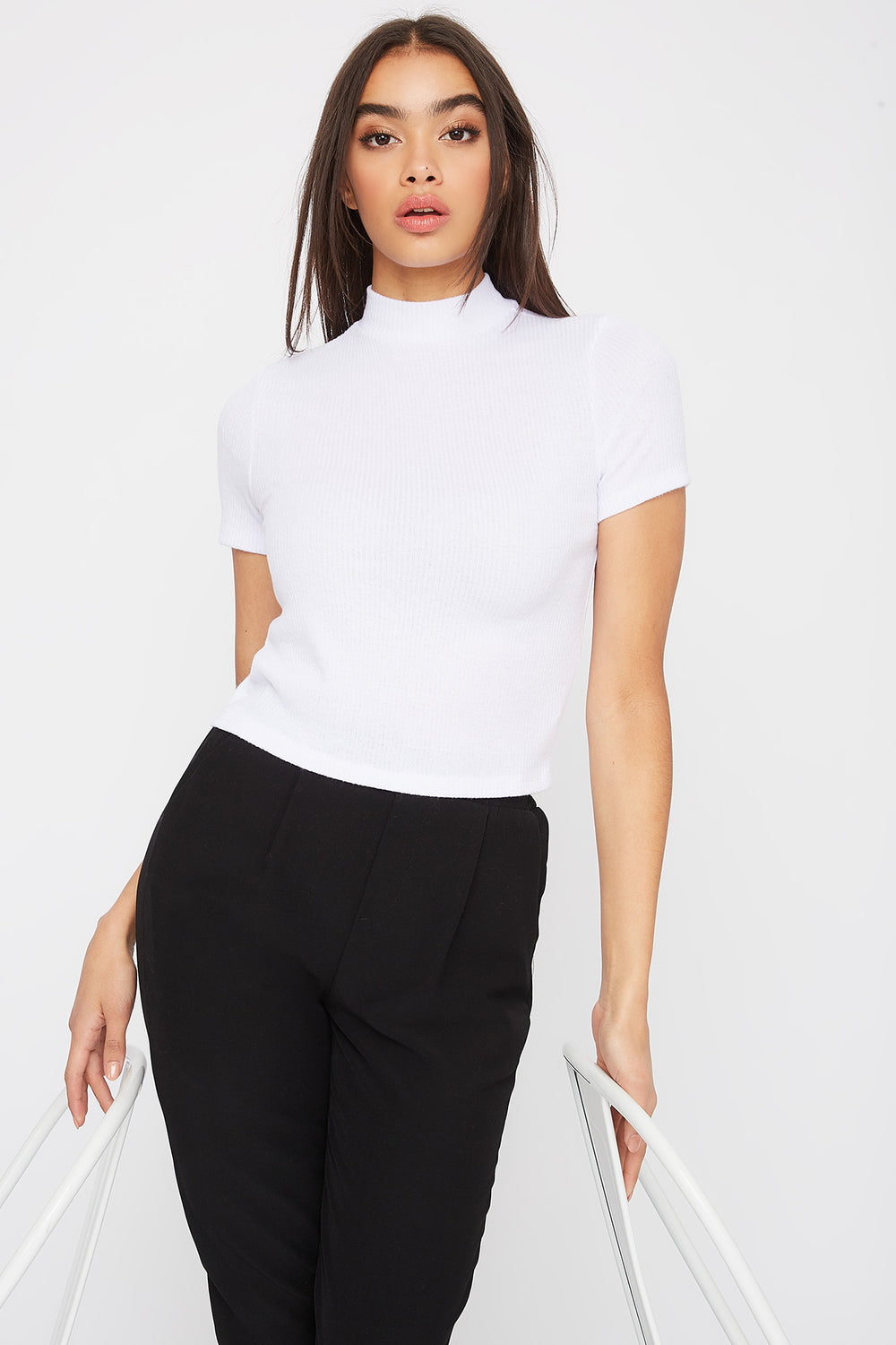 Ribbed Mock Neck T-Shirt White