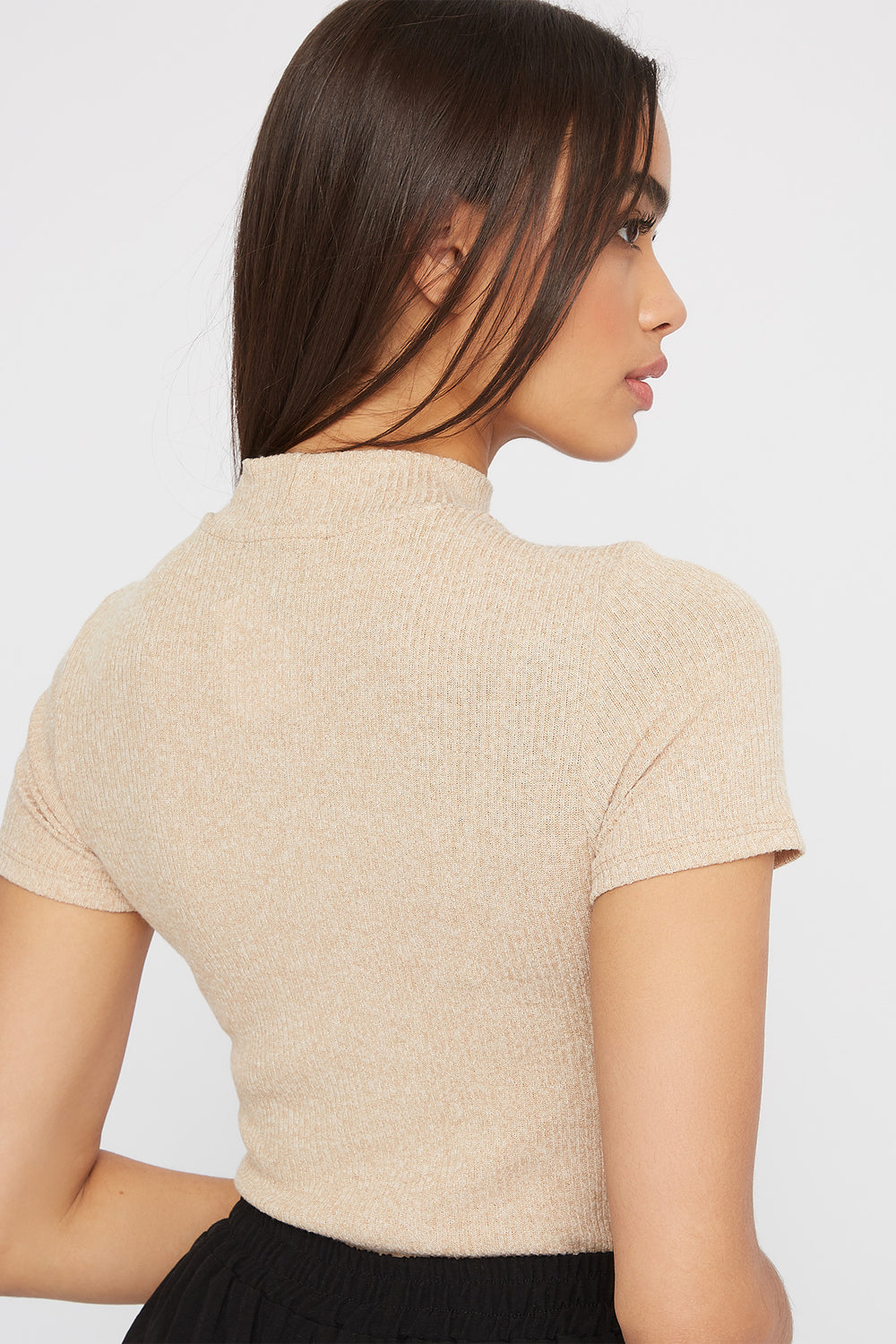 Ribbed Mock Neck T-Shirt Oatmeal
