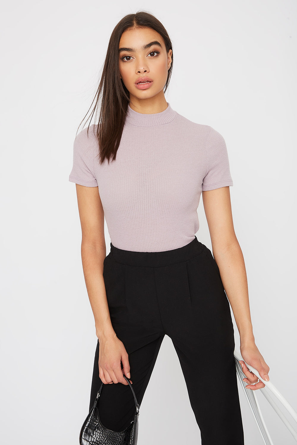Ribbed Mock Neck T-Shirt Lilac