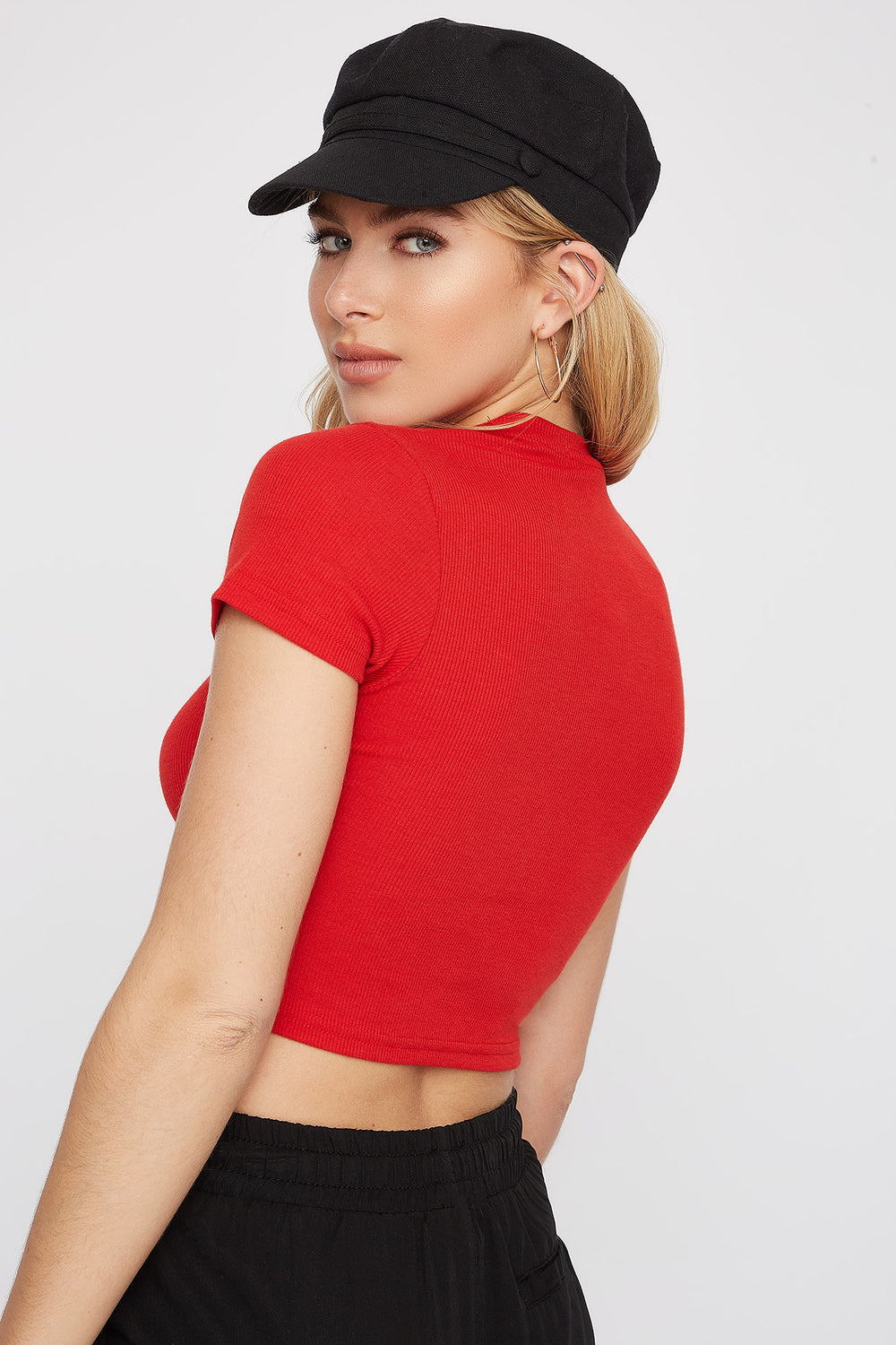 Ribbed Crew Neck Cropped T-Shirt Red