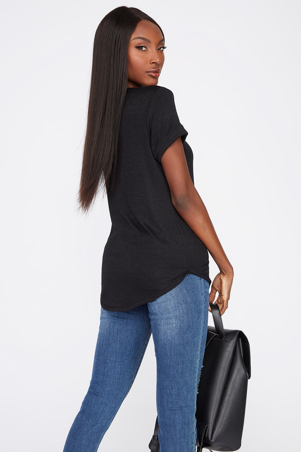 V-Neck Roll Cuffed T-Shirt Black