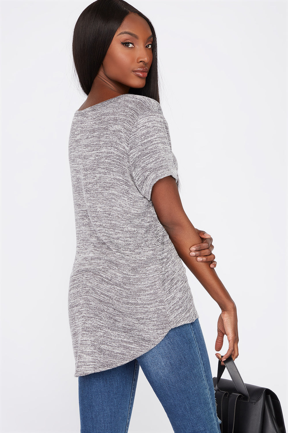 V-Neck Roll Cuffed T-Shirt Charcoal