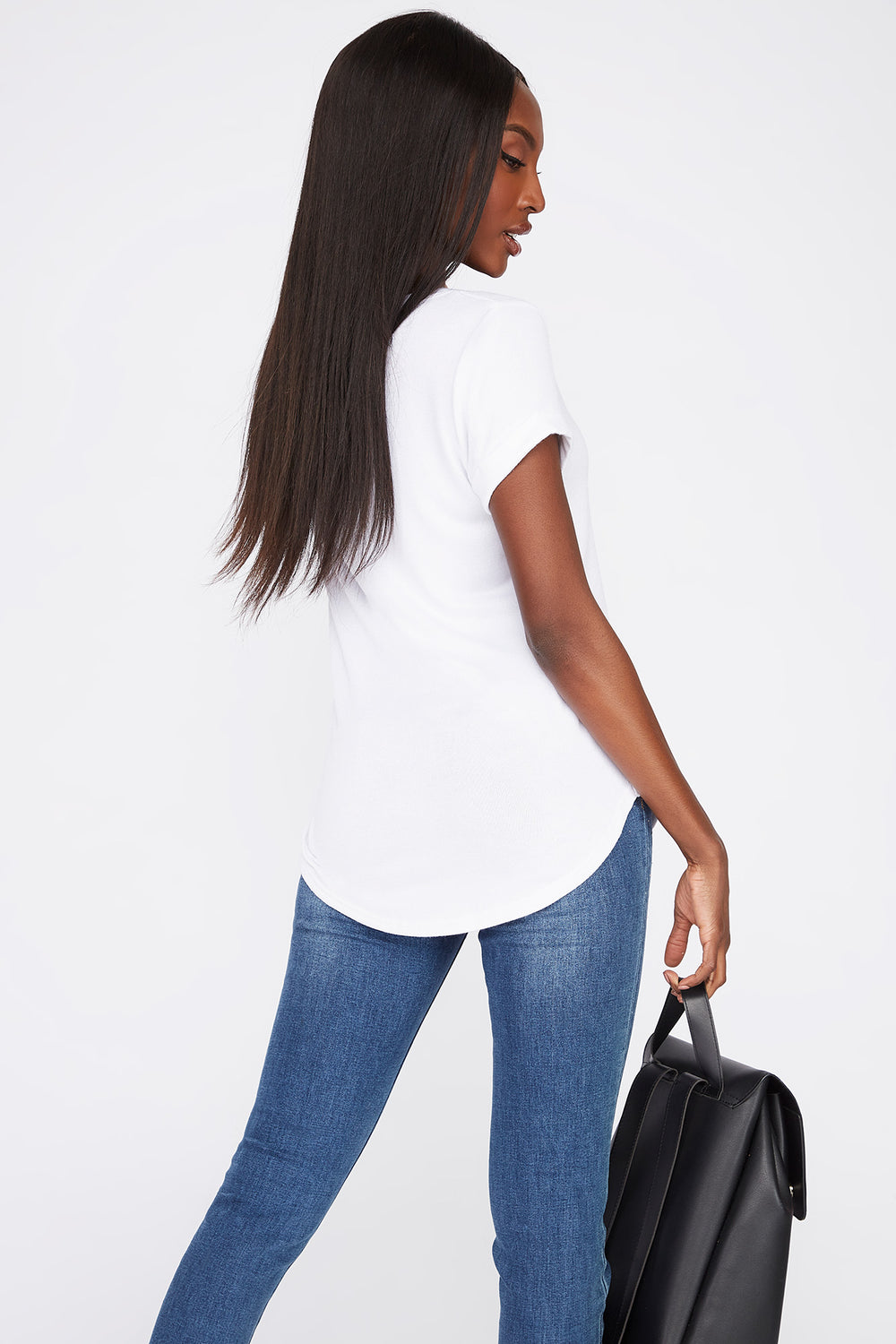 V-Neck Roll Cuffed T-Shirt White