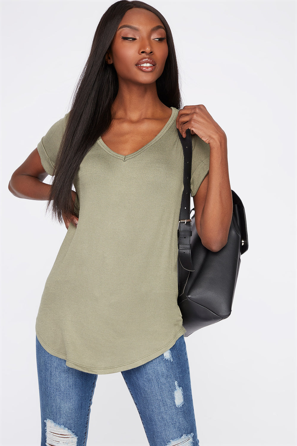 V-Neck Roll Cuffed T-Shirt Dark Green