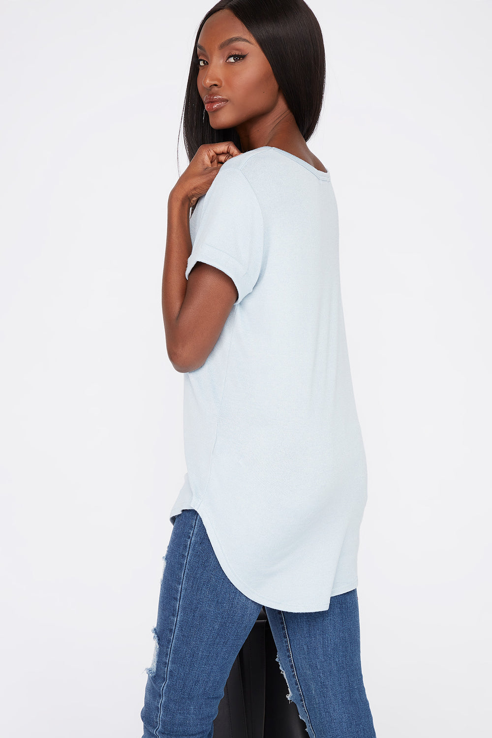 V-Neck Roll Cuffed T-Shirt Baby Blue