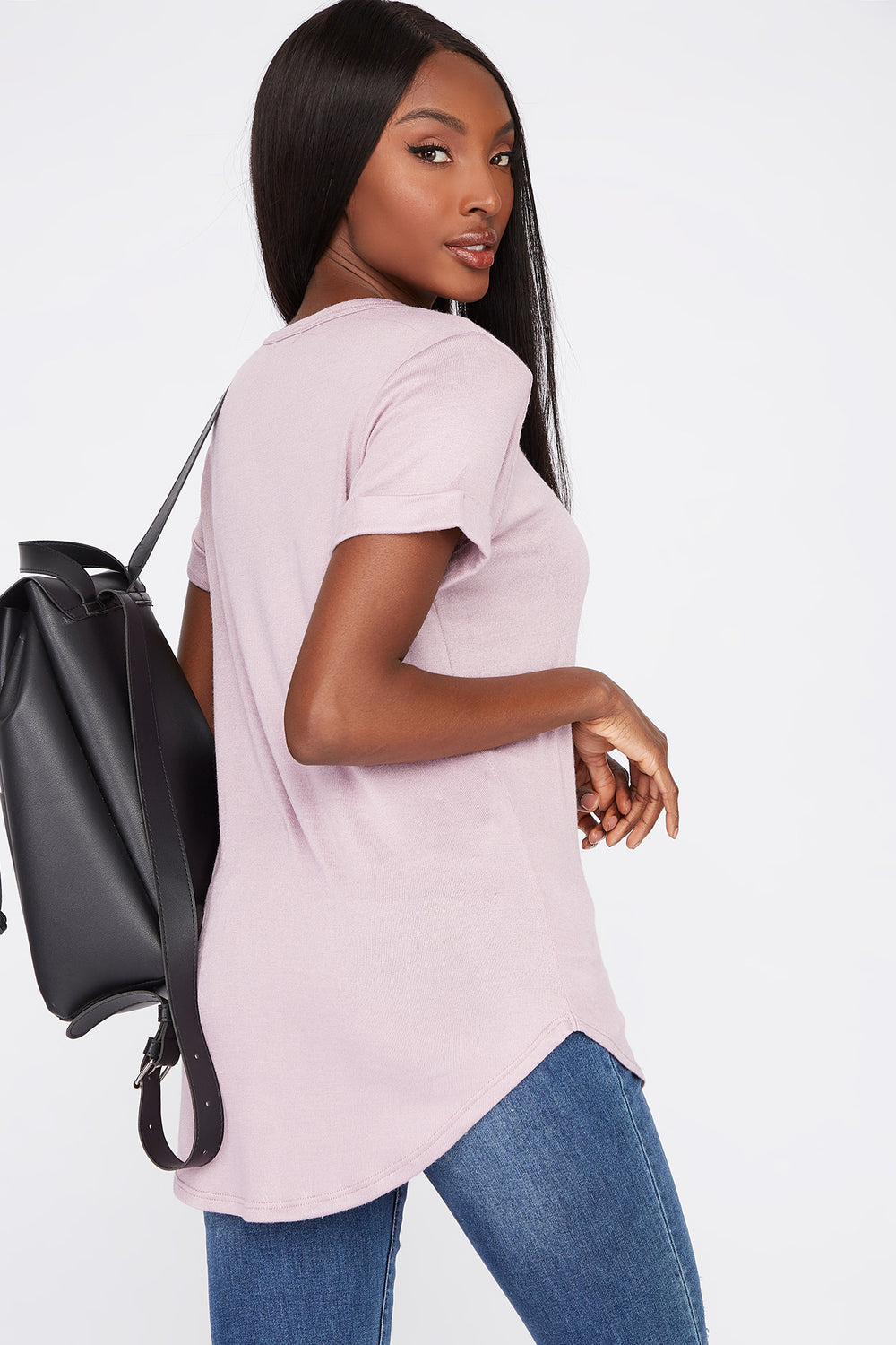 V-Neck Roll Cuffed T-Shirt Lilac