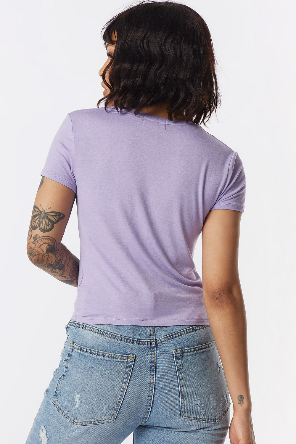 Ribbed Crew Neck Skimmer T-Shirt Lilac