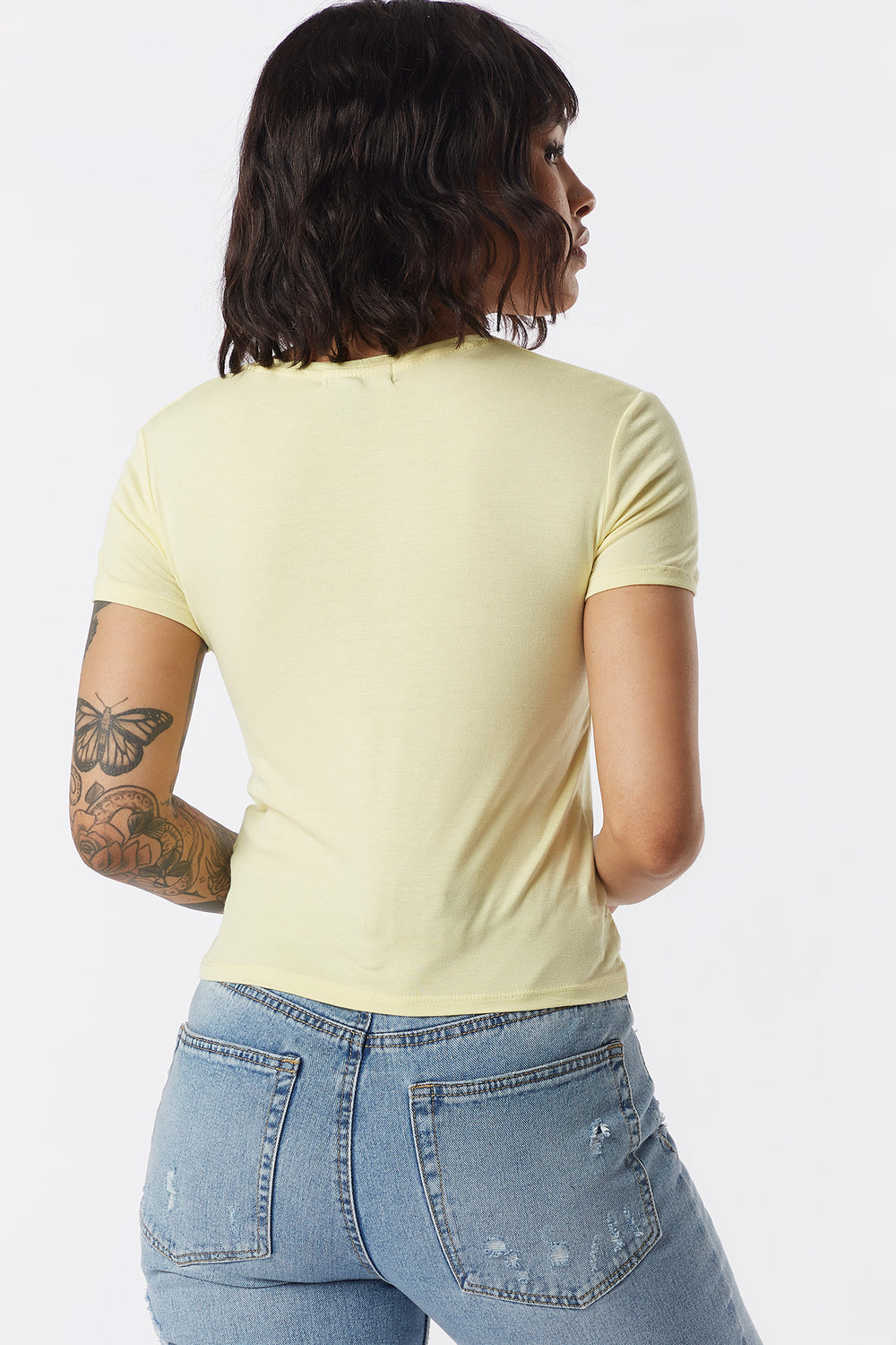 Ribbed Crew Neck Skimmer T-Shirt Yellow