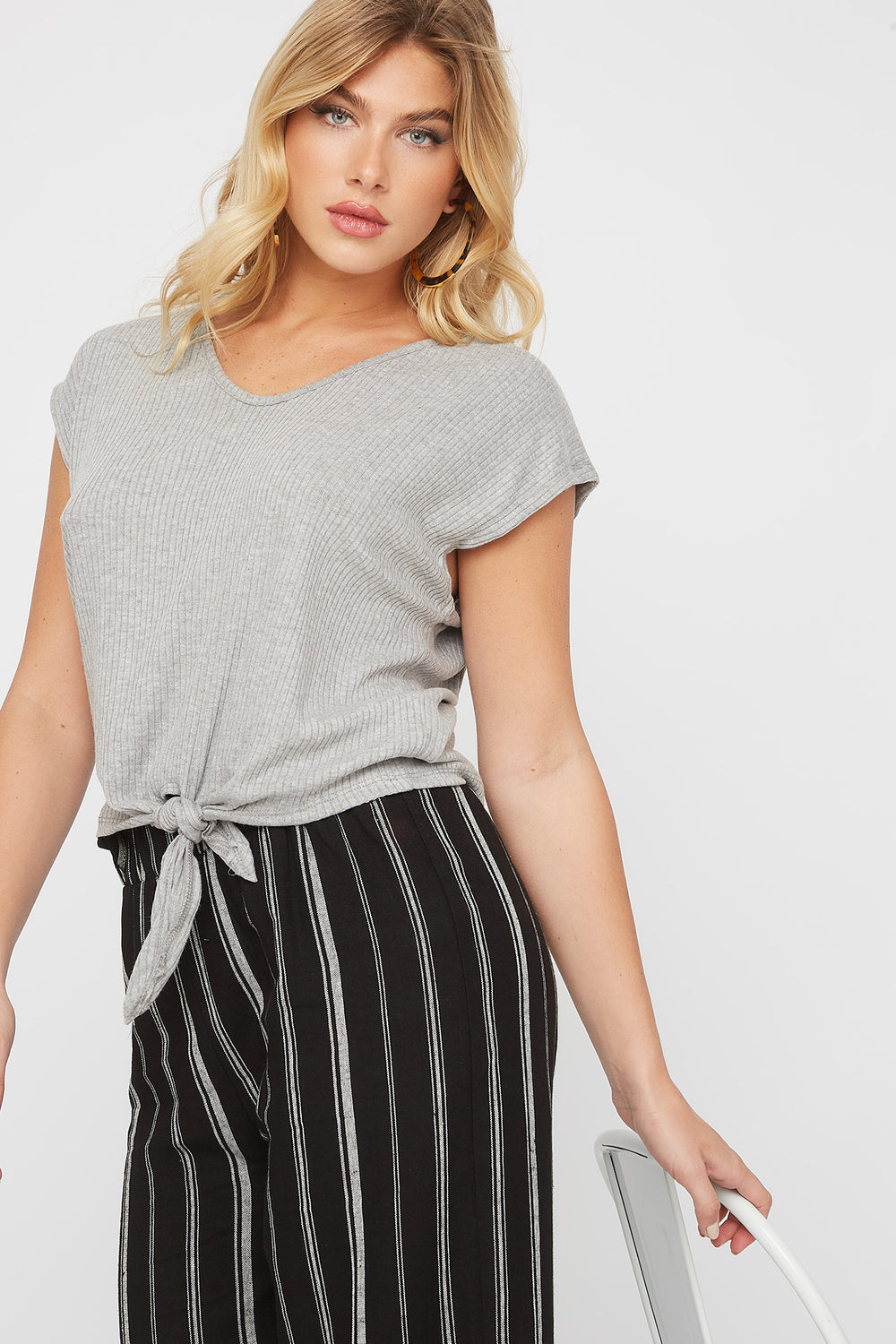 Ribbed Self Tie Cap Sleeve T-Shirt Heather Grey