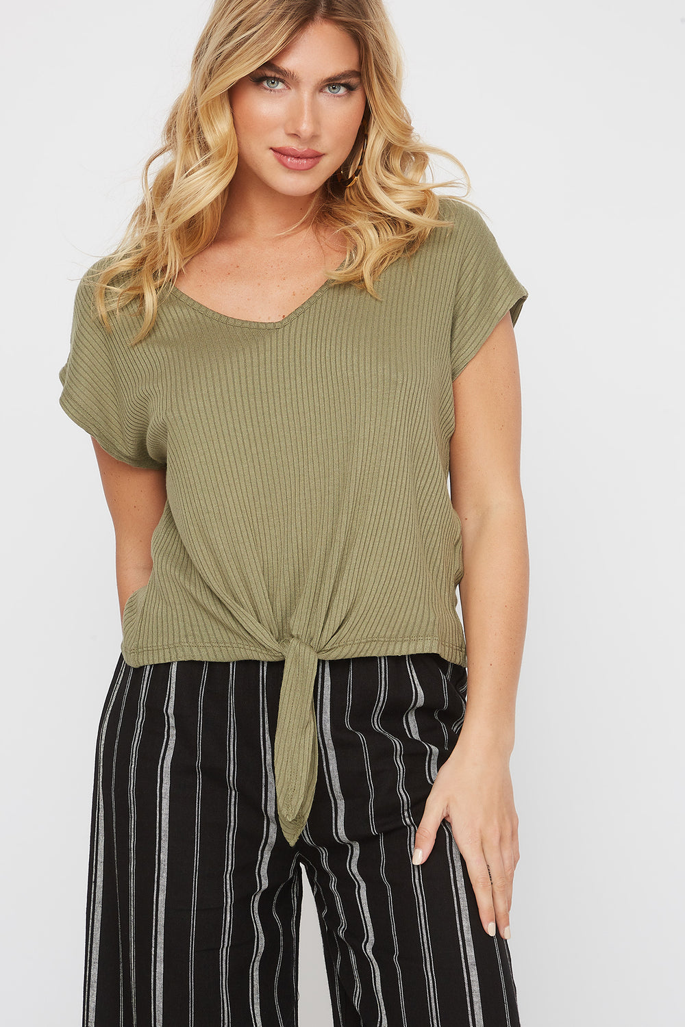 Ribbed Self Tie Cap Sleeve T-Shirt Dark Green