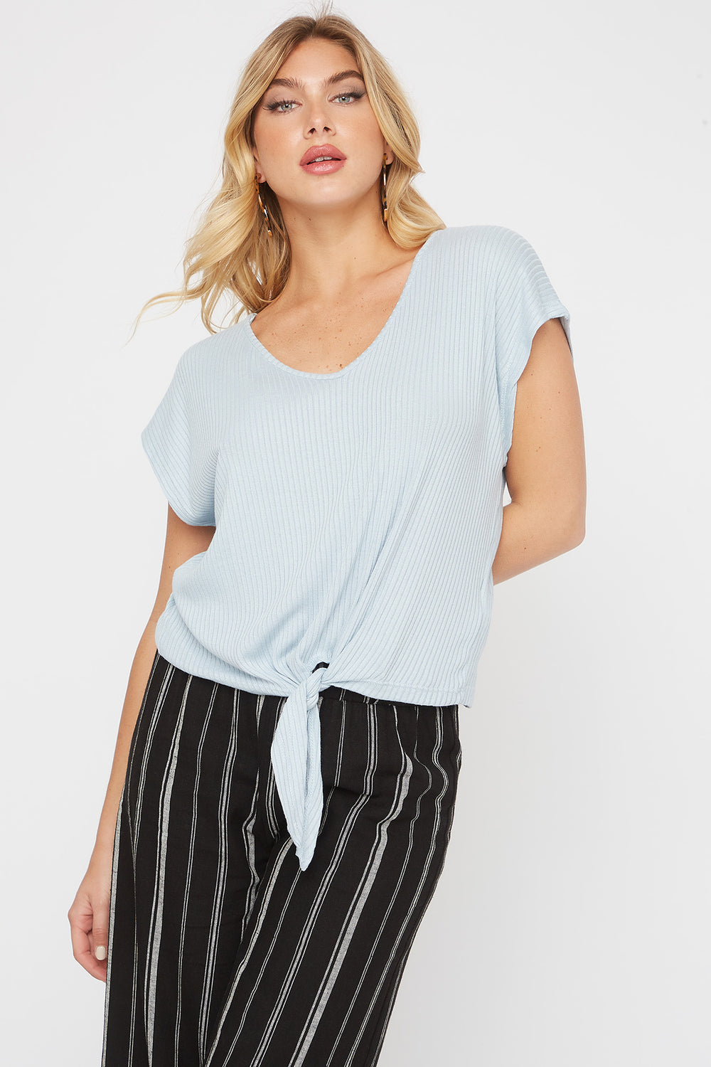 Ribbed Self Tie Cap Sleeve T-Shirt Baby Blue