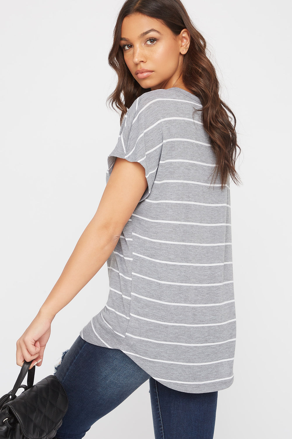 Striped Dolman Short Sleeve Top Light Grey