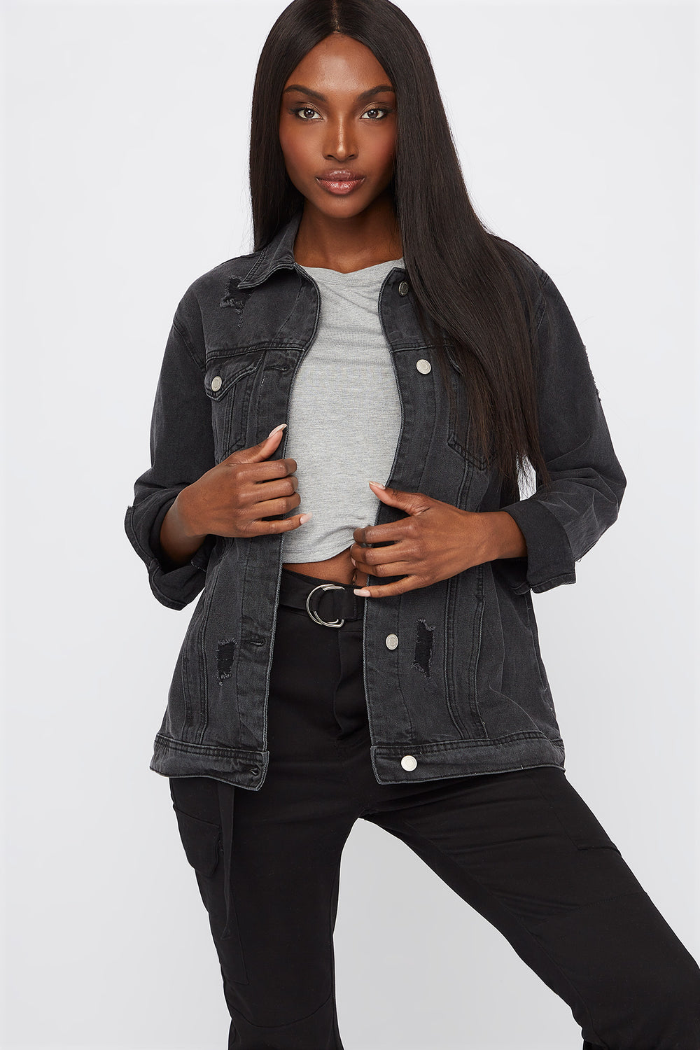 Distressed Black Denim Jacket Black