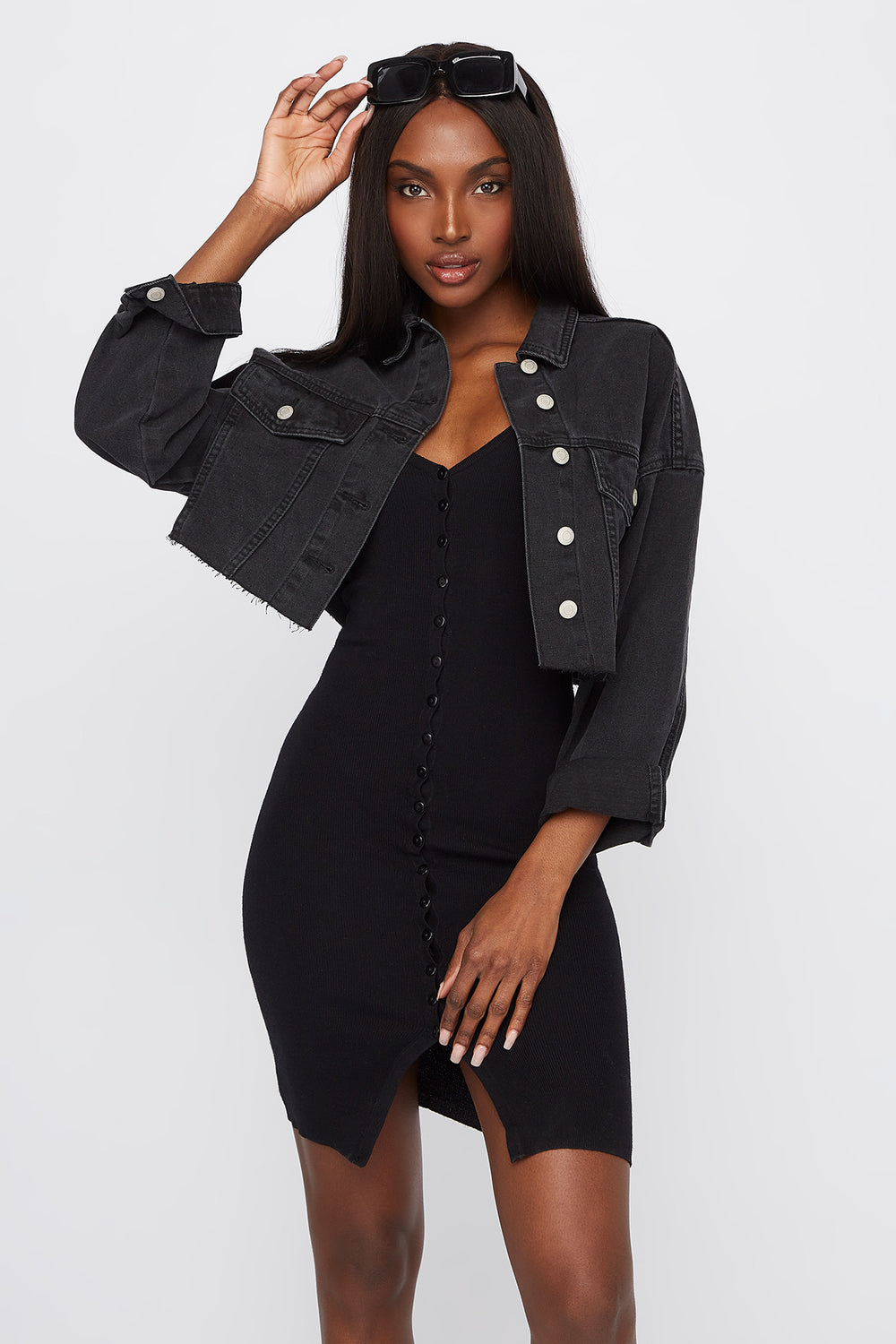 Cropped Denim Jacket Black