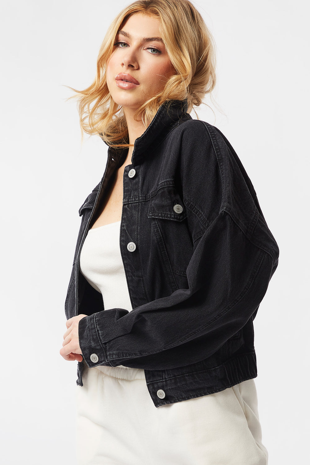 Cinched Waist Denim Jacket Black