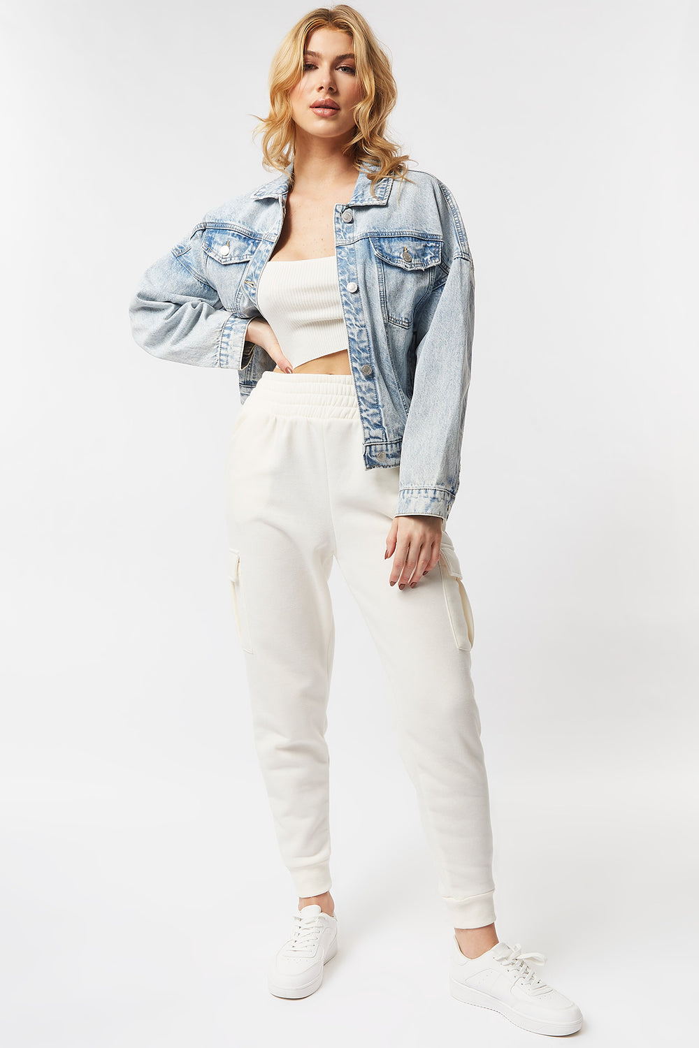 Cinched Waist Denim Jacket Light Denim Blue