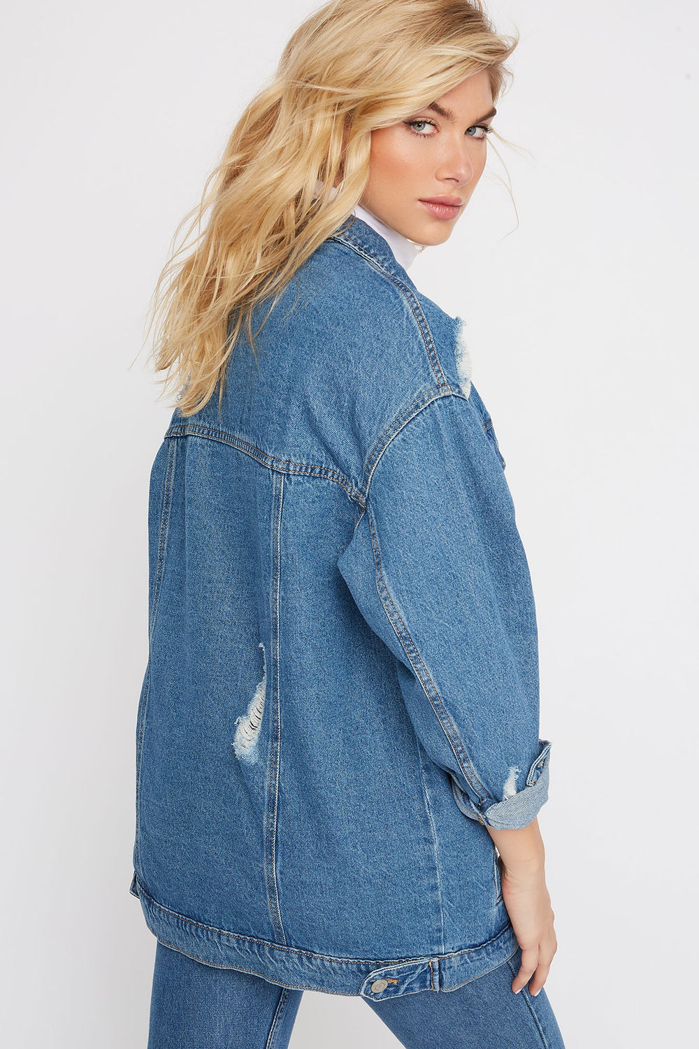 Oversized Distressed Denim Jacket Medium Blue