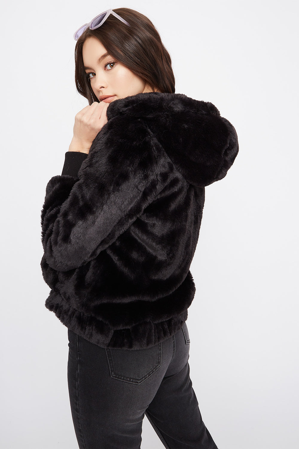 Faux-Fur Bomber Jacket Black