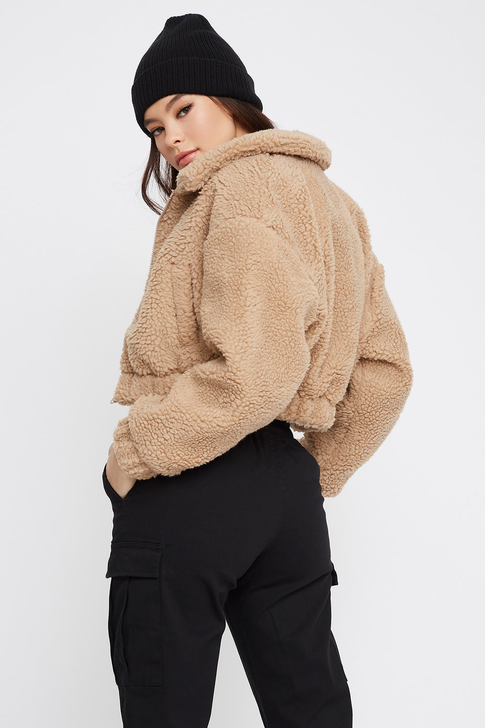 Cropped Sherpa Zip-Up Jacket Sand